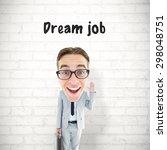 geeky businessman against white ...   Shutterstock . vector #298048751