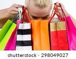 blond woman inspecting content... | Shutterstock . vector #298049027