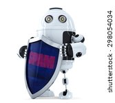 robot with the shield. spam... | Shutterstock . vector #298054034
