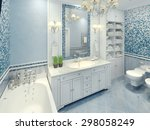 bright art deco bathroom... | Shutterstock . vector #298058249