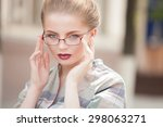 beautiful young blonde woman... | Shutterstock . vector #298063271