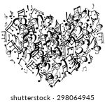 heart shape symbol of notes on... | Shutterstock .eps vector #298064945