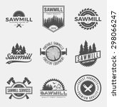 vector set of sawmill labels ... | Shutterstock .eps vector #298066247