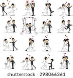 set of wedding pictures  bride... | Shutterstock .eps vector #298066361