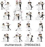 set of wedding pictures  bride... | Shutterstock .eps vector #298066361