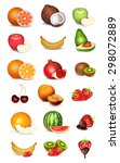 set of fruits and berries | Shutterstock . vector #298072889