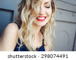 close up portrait of a young... | Shutterstock . vector #298074491