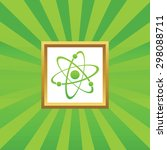 image of atom in golden frame ...