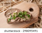 chicken liver pate on rye bread | Shutterstock . vector #298095491