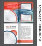 vector empty bi fold brochure... | Shutterstock .eps vector #298096301