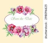 watercolor flowers peony ... | Shutterstock . vector #298096625