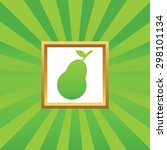 image of pear in golden frame ...