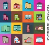 houses icons set of different... | Shutterstock .eps vector #298102451