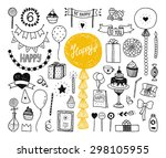 hand drawn happy birthday... | Shutterstock .eps vector #298105955