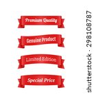 set of red ribbon banners for... | Shutterstock .eps vector #298108787