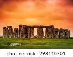 stonehenge against fiery orange ... | Shutterstock . vector #298110701