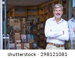 portrait of male bookshop owner ... | Shutterstock . vector #298121081