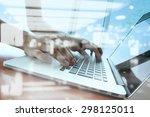 double exposure of businessman... | Shutterstock . vector #298125011