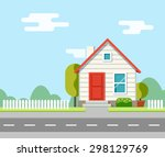 a house along the road. part of ... | Shutterstock .eps vector #298129769