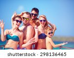 group of happy friends  family... | Shutterstock . vector #298136465