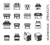 shop building icon set | Shutterstock .eps vector #298141271
