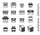 shop building icon set | Shutterstock .eps vector #298141271