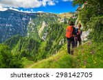 woman's hiking team with...   Shutterstock . vector #298142705