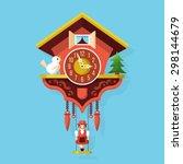 cuckoo clock flat style vector... | Shutterstock .eps vector #298144679