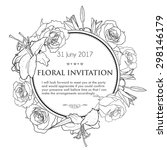 vintage invitation card with... | Shutterstock . vector #298146179