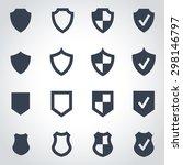 vector black shield icon set. | Shutterstock .eps vector #298146797