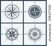 set of isolated compass roses... | Shutterstock .eps vector #298157435