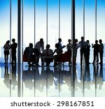 silhouette group of business... | Shutterstock . vector #298167851