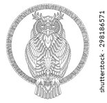 hand drawn owl coloring page | Shutterstock .eps vector #298186571
