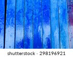 Wet Blue Wood Texture With...