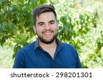 happy young casual man outdoor... | Shutterstock . vector #298201301