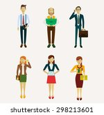 set of characters in a flat... | Shutterstock .eps vector #298213601