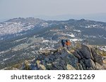 trekkers on mountain ridge on... | Shutterstock . vector #298221269
