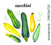 set with zucchini and squash.... | Shutterstock .eps vector #298236725