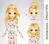 beautiful fashion blonde girl... | Shutterstock .eps vector #298247954