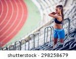 fitness woman on stadium... | Shutterstock . vector #298258679
