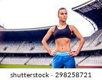 fitness woman on stadium | Shutterstock . vector #298258721