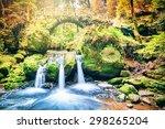 beautiful waterfall in autumn... | Shutterstock . vector #298265204