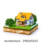 white house on a piece of earth ... | Shutterstock . vector #298265315