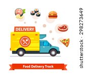 restaurant food delivery truck... | Shutterstock .eps vector #298273649