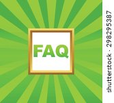 text faq in golden frame  on...