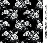 black and white floral seamless ... | Shutterstock . vector #298298321