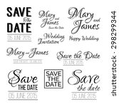save the date logos. set of... | Shutterstock .eps vector #298299344