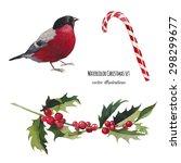 watercolor christmas set. hand... | Shutterstock .eps vector #298299677
