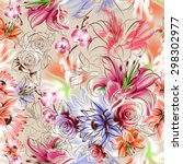 seamless pattern. flowers drawn ... | Shutterstock . vector #298302977