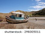 Small photo of Summer landscape with old boat, Mahia Peninsula, East Coast, North Island, New Zealand